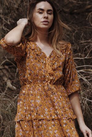 THEA MUSTARD FLORAL DRESS