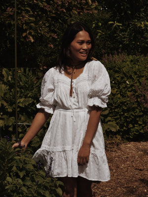 MORNING SONG HAND SMOCKED DRESS WHITE COTTON LACE