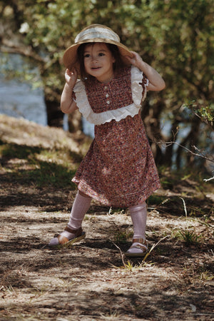 ANNABELLE GIRL'S DRESS DITSY FLORAL IN POPPY