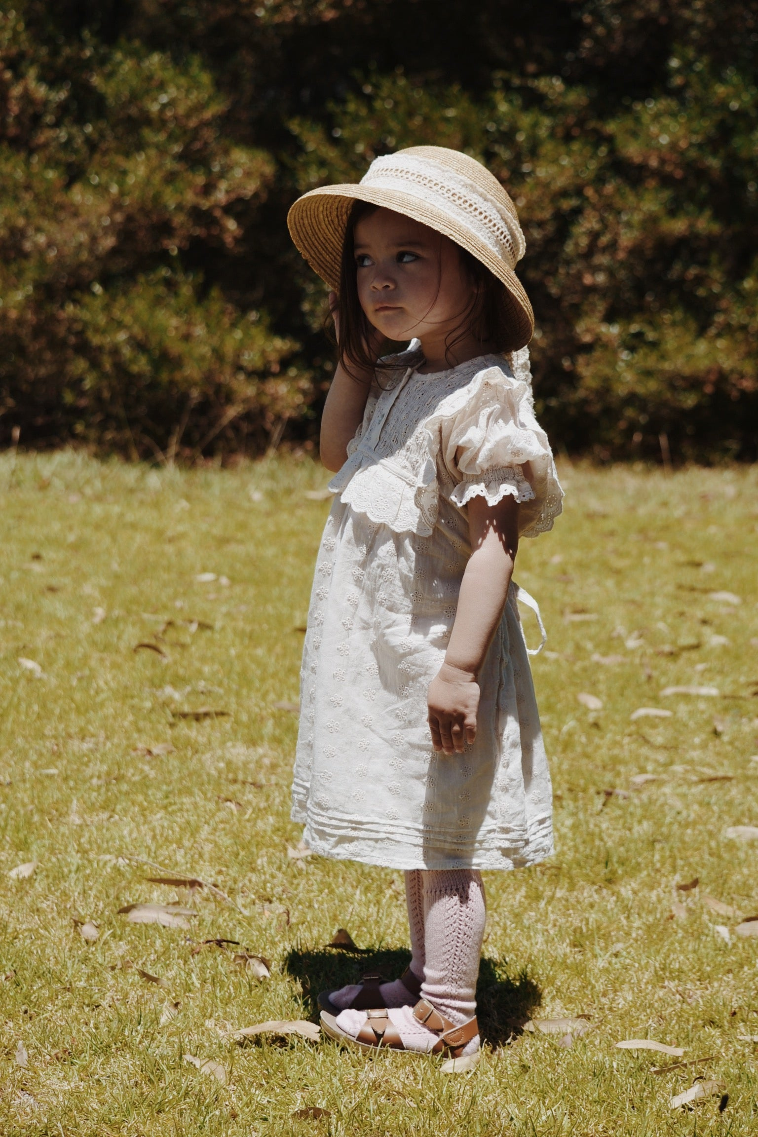 ANNABELLE GIRL'S DRESS ANTIQUE WHITE