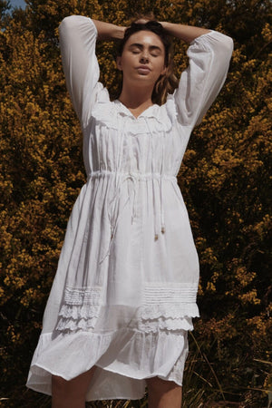 ABERDEEN WHITE COTTON LACE DRESS