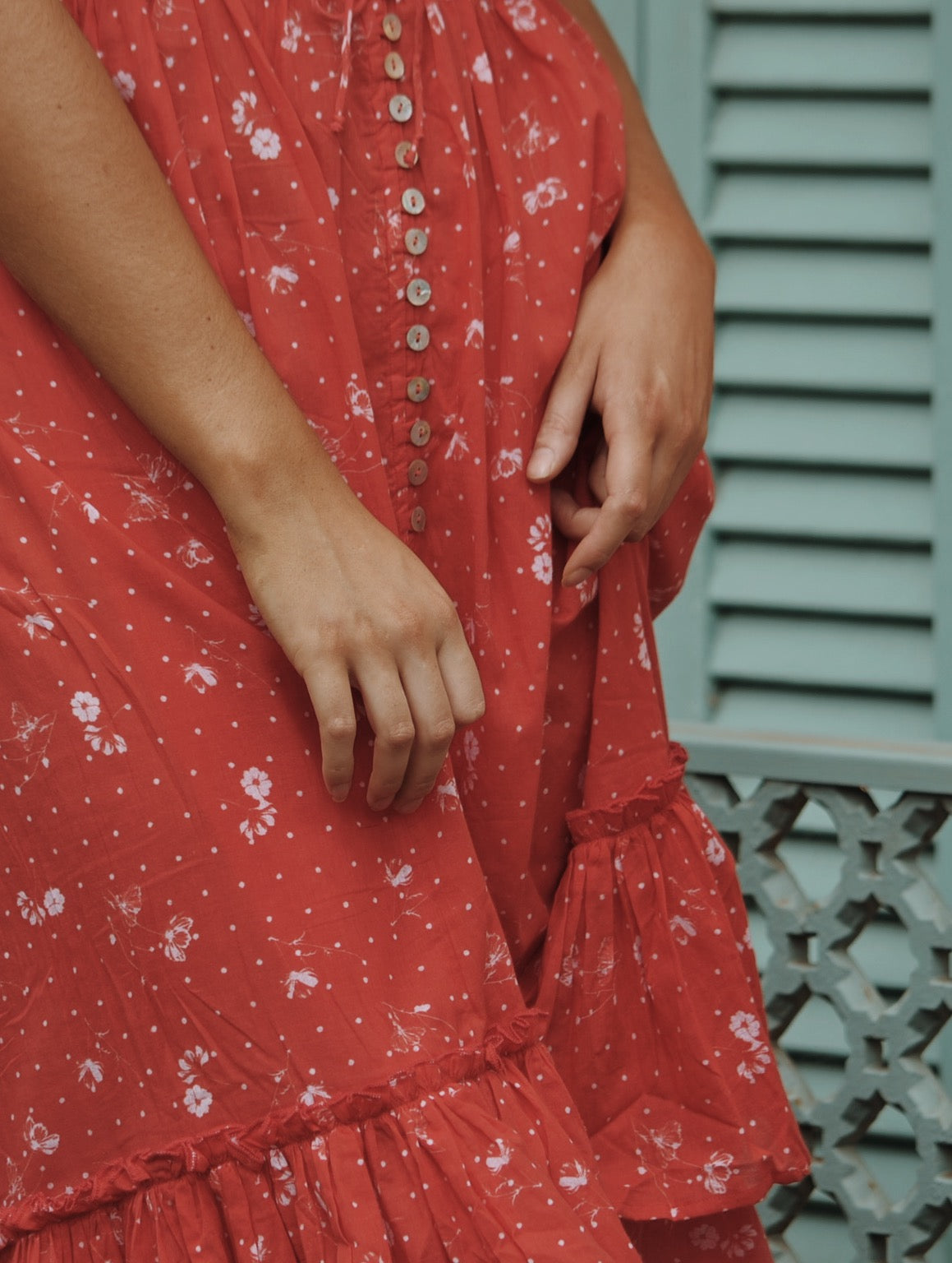 DULCIE DRESS RED COSMOS FLORAL