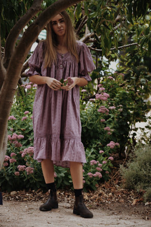 MORNING SONG HAND SMOCKED DRESS DUSTY LAVENDER