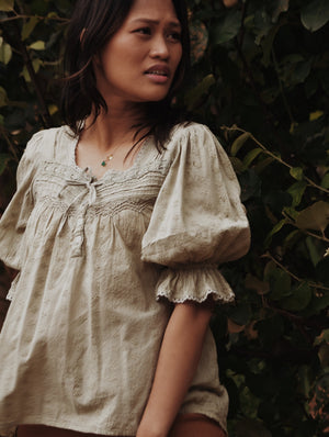 MORNING SONG HAND SMOCKED BLOUSE SAGE