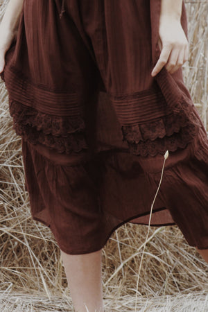ABERDEEN CHOCOLATE BROWN COTTON LACE DRESS