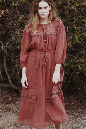 ABERDEEN CLAY COTTON LACE DRESS
