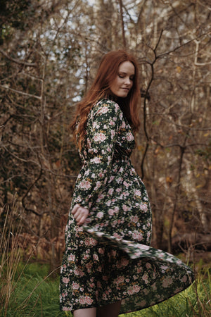PRAIRIE ROSE FLORAL FOREST GREEN DRESS