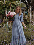 BRAMWELL DRESS DUSTY BLUE COTTON LACE