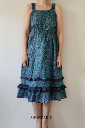 AVONLEA TURQUOISE FLORAL DRESS - 2 LENGTHS AVAILABLE