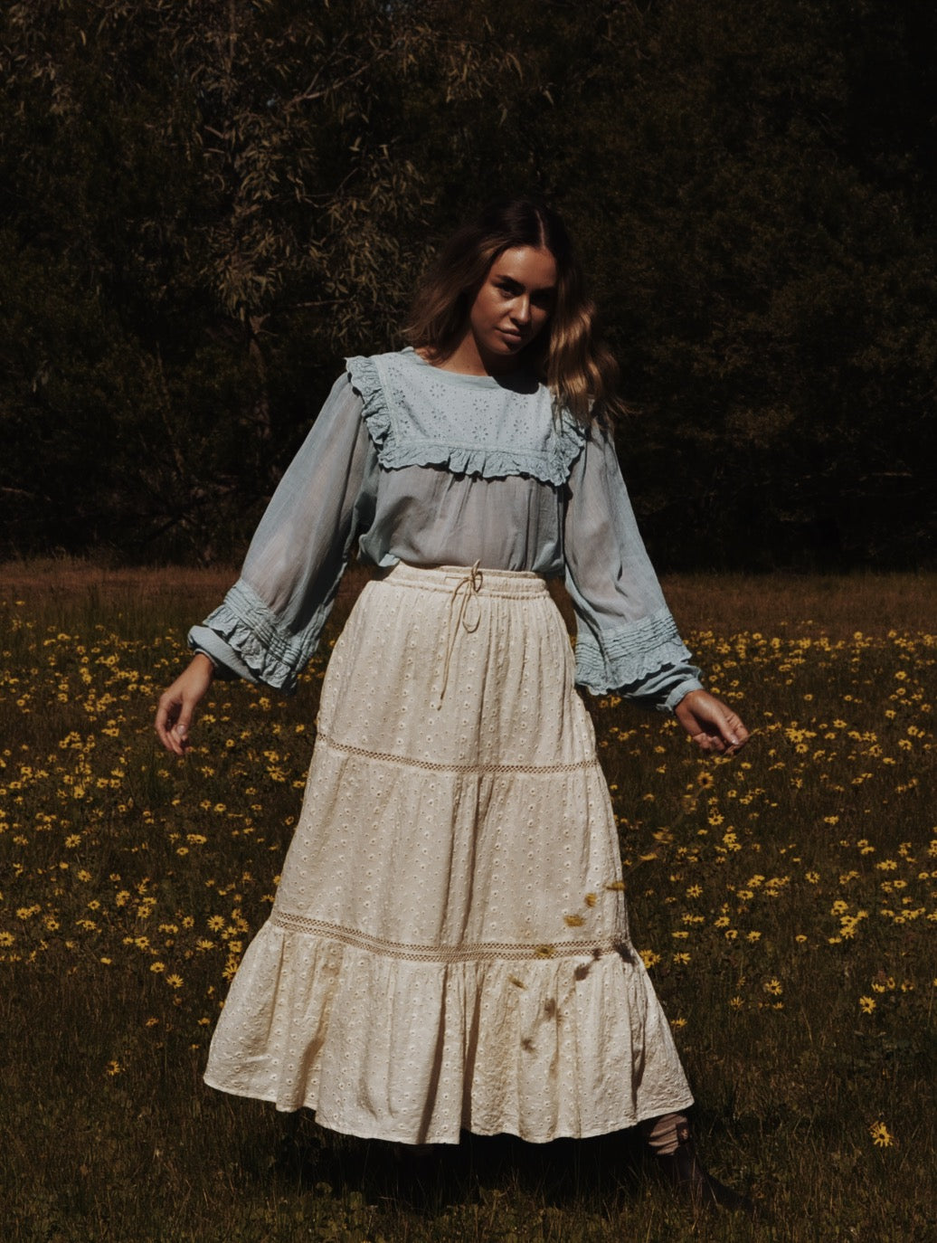 KATERINA SKIRT IVORY COTTON LACE