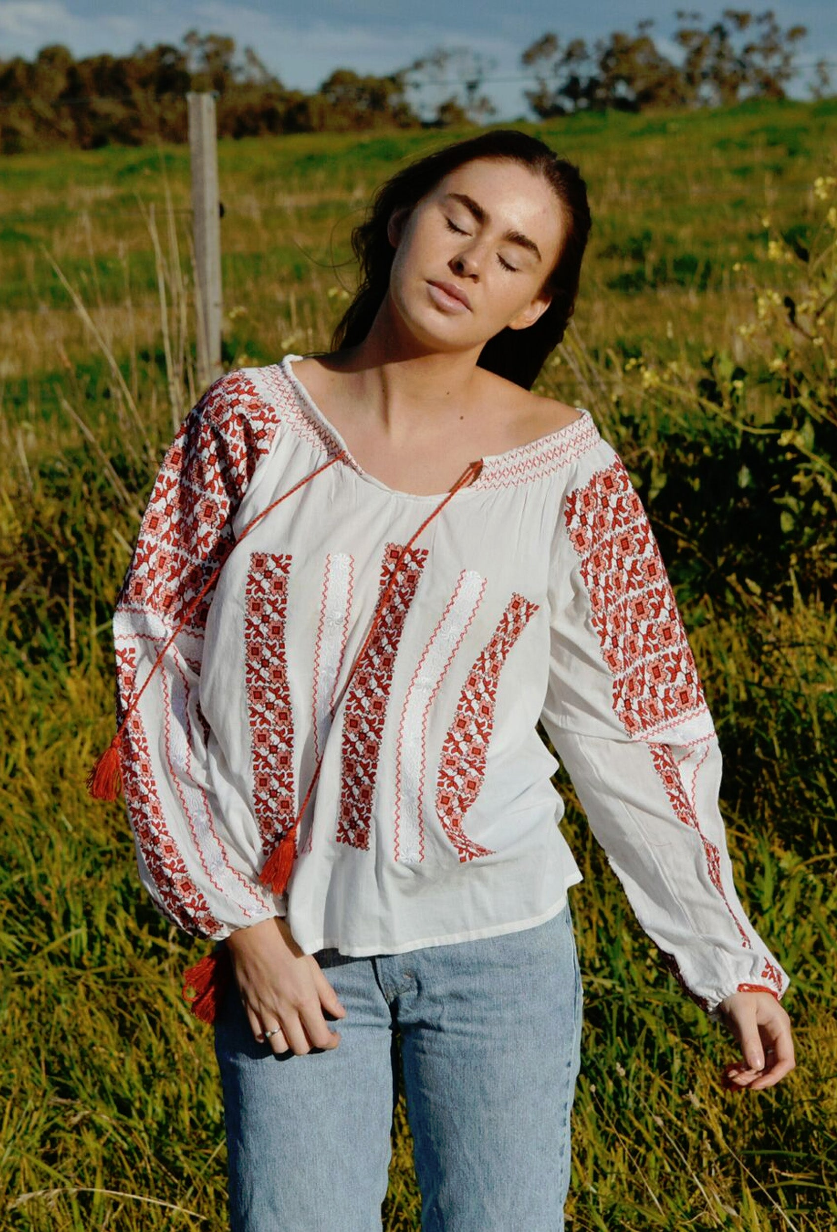 CLAUDE EMBROIDERED RED BLOUSE