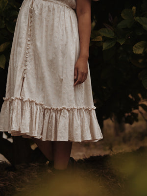 SMALL RESTOCK - RU DRESS ANTIQUE WHITE COTTON LACE