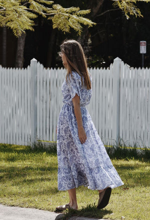 DULCIE DRESS BLUE PAISLEY HAND BLOCK PRINT