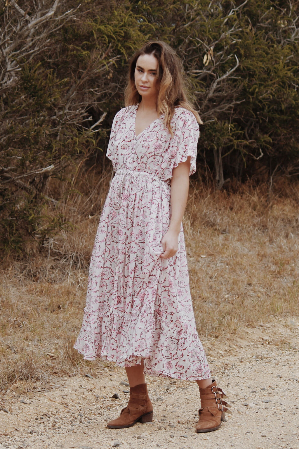 DULCIE DRESS PINK HAND BLOCK FLORAL PRINT