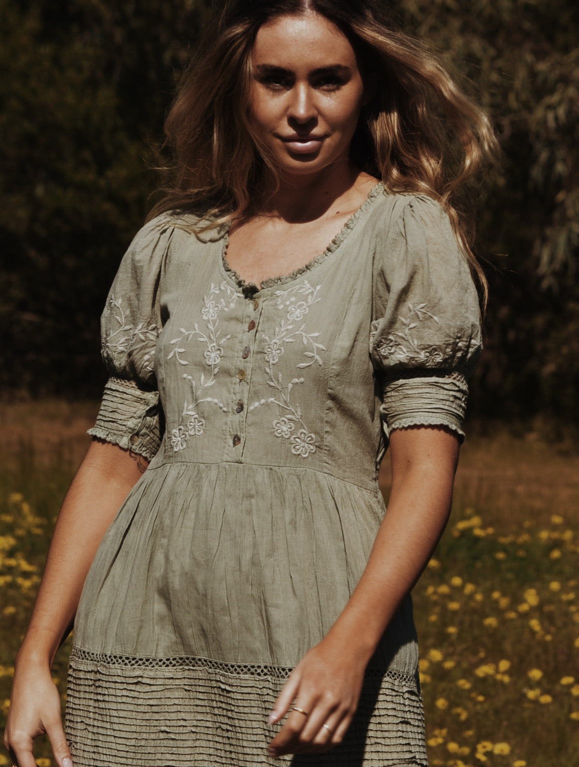 FAUSTINE DRESS DESERT SAGE