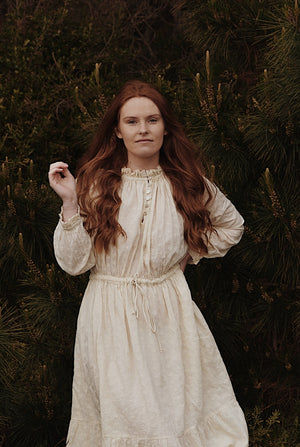 PRAIRIE DRESS ANTIQUE WHITE LACE COTTON