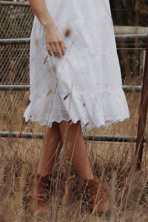 EVERLY TIERED WHITE COTTON LACE DRESS