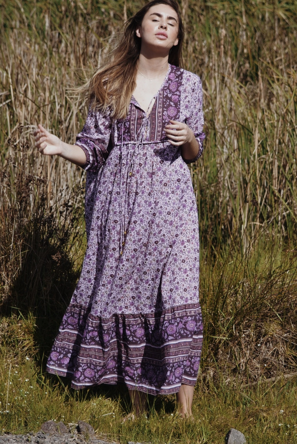 HENRI MAXI DRESS PURPLE FLORAL PRINT