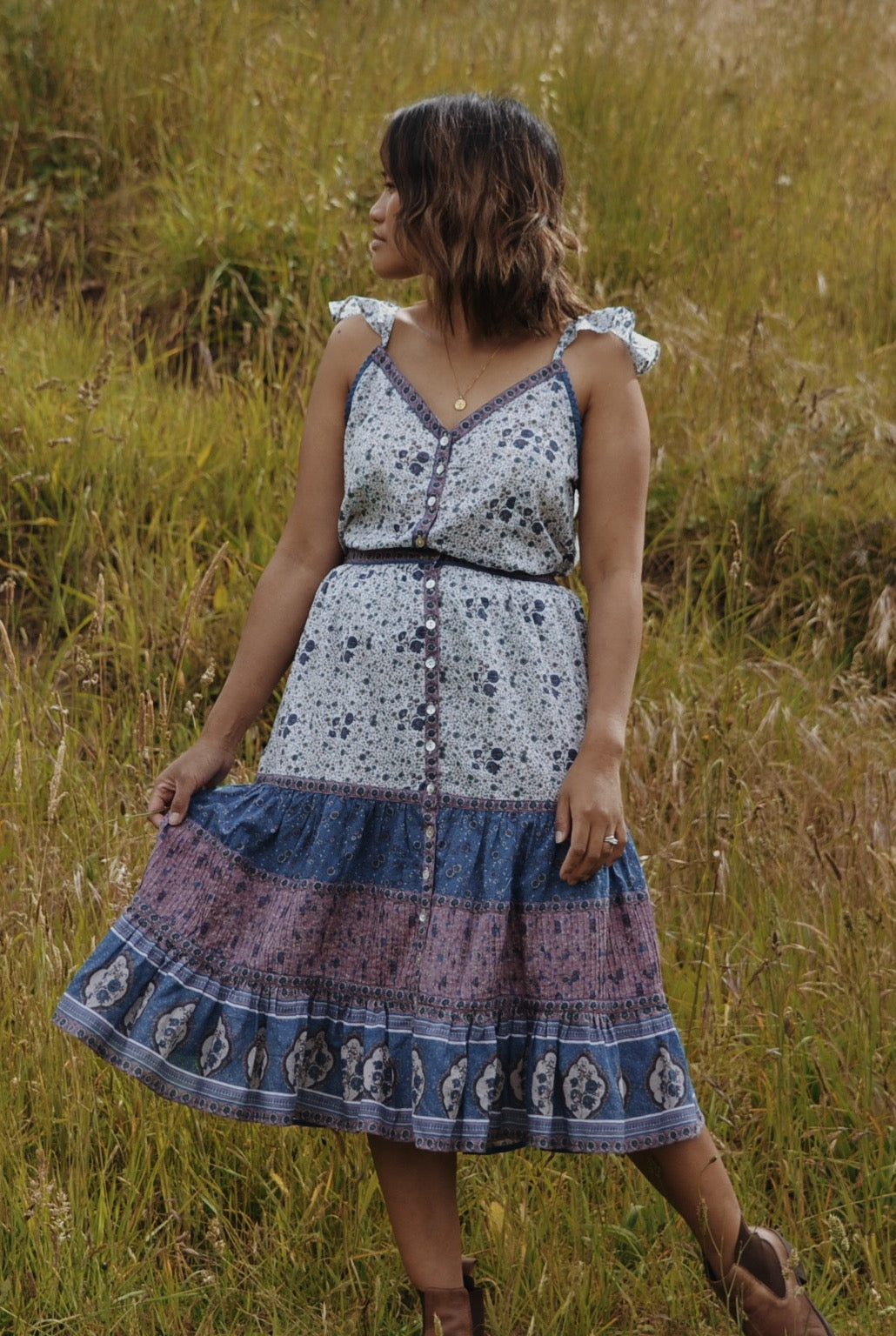 MARAIS DRESS TWO PIECE SET BLUE FLORAL