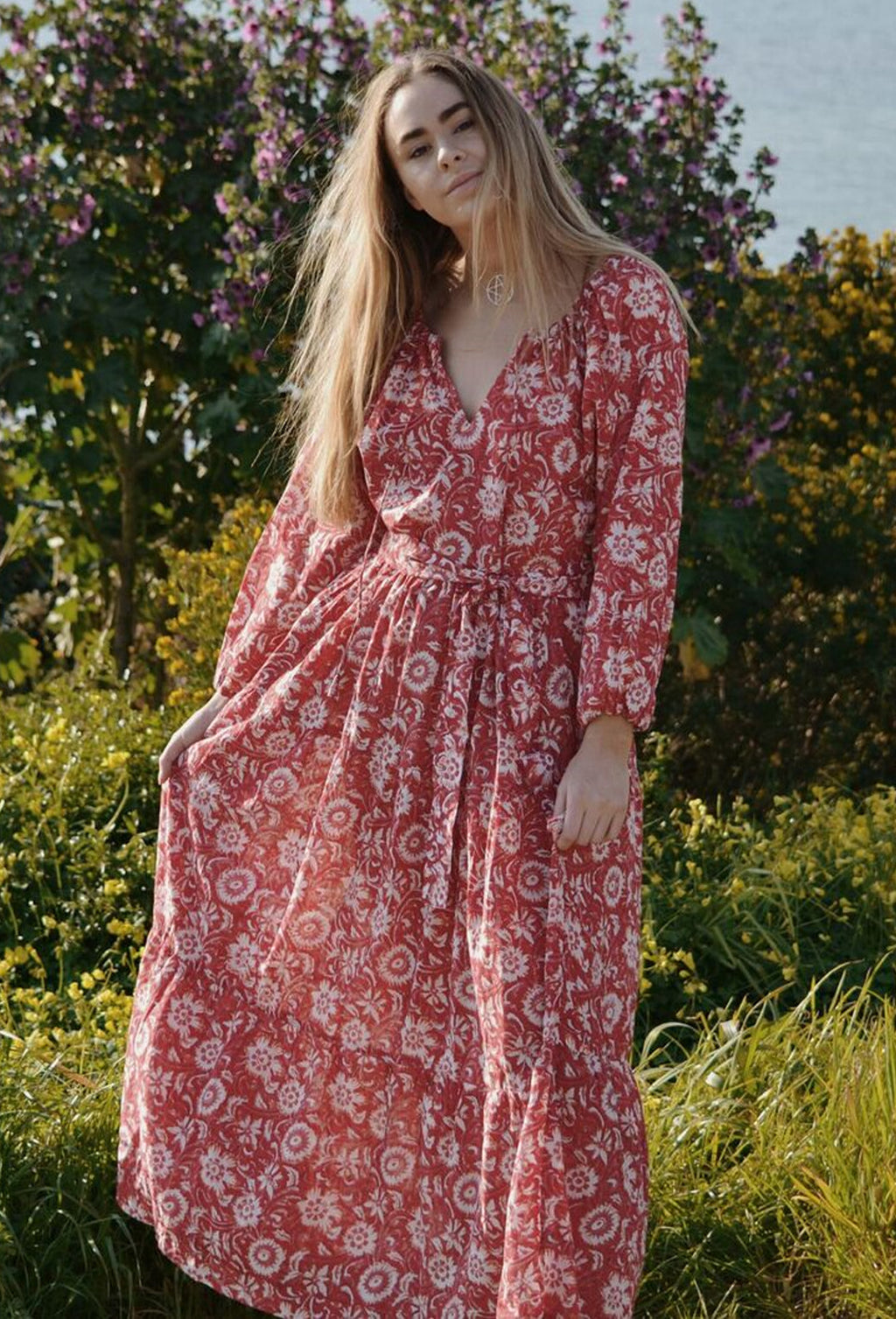 PRU MAXI DRESS RED FLORAL