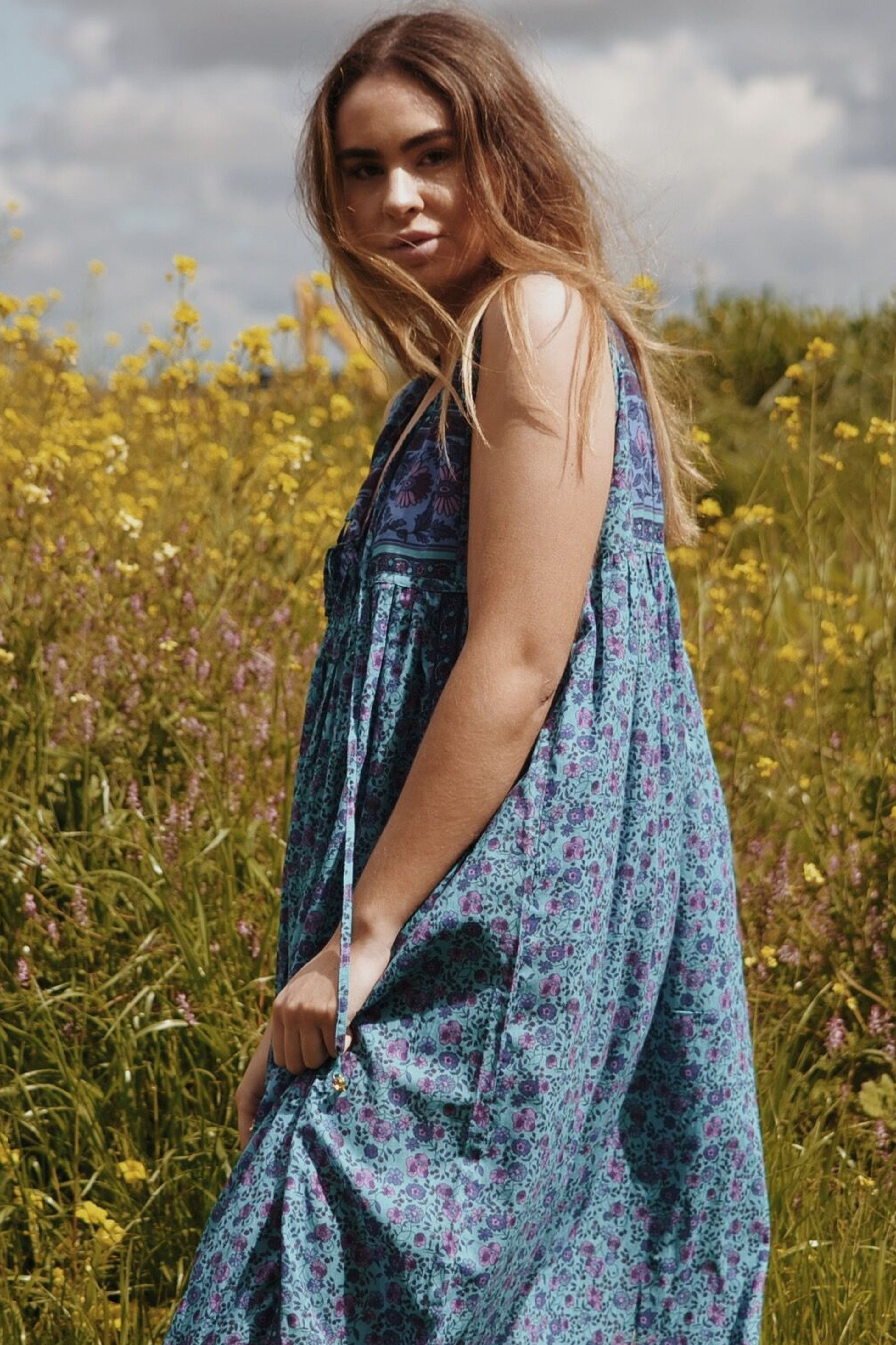 MALIN TURQUOISE FLORAL DRESS