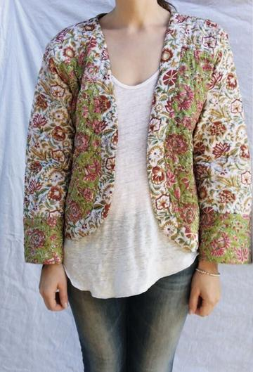 ADELINE QUILTED JACKET GREEN FLORAL
