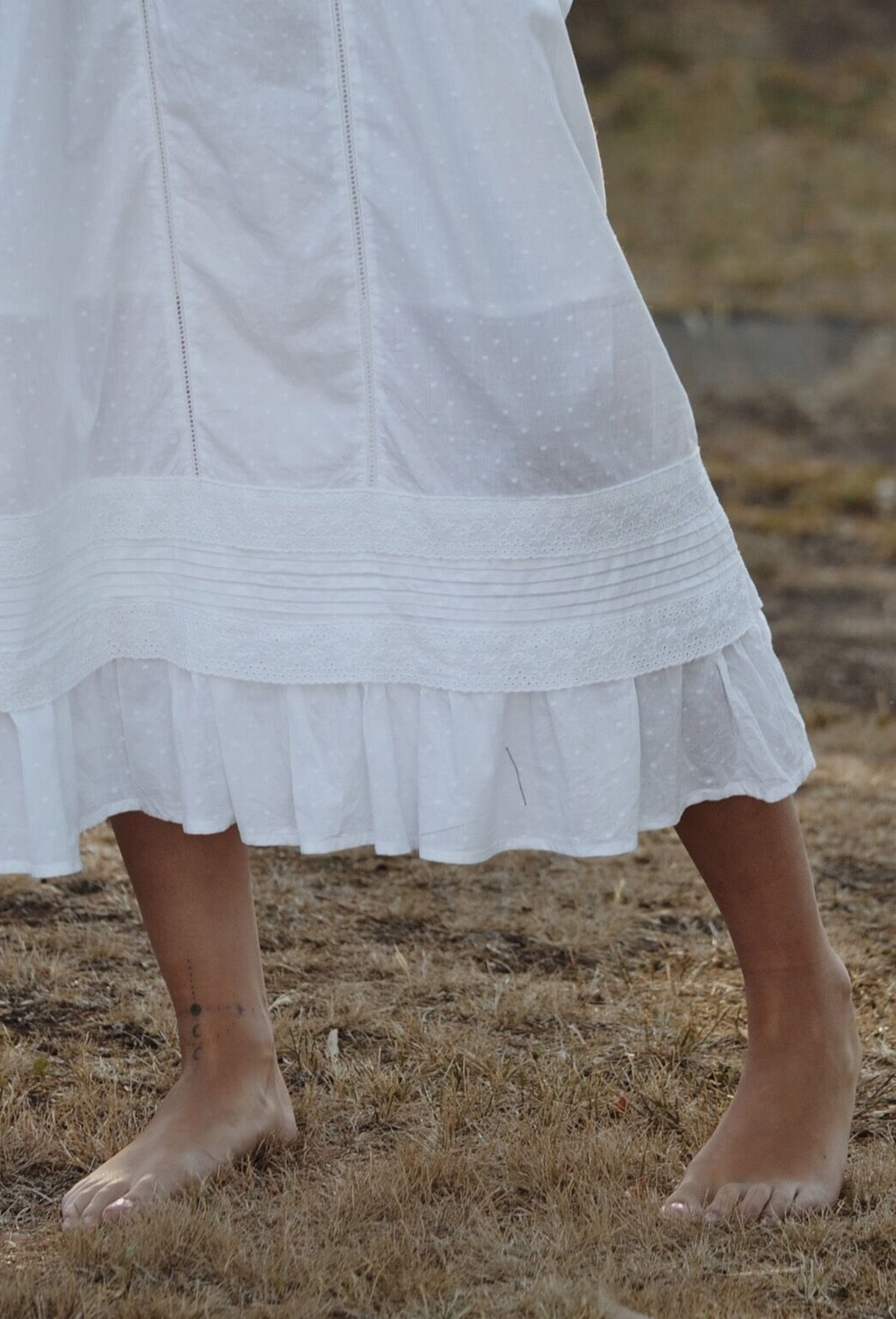 ADELINE WHITE COTTON LACE DRESS