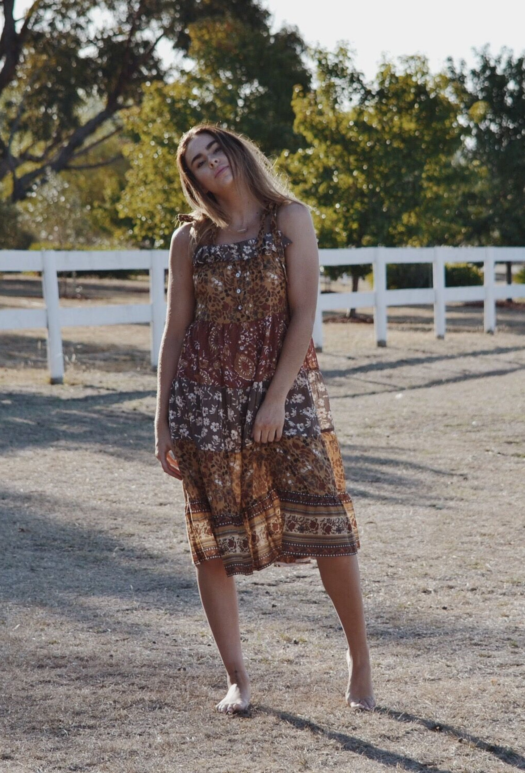 MARISKA TIERED OAK BROWN FLORAL DRESS