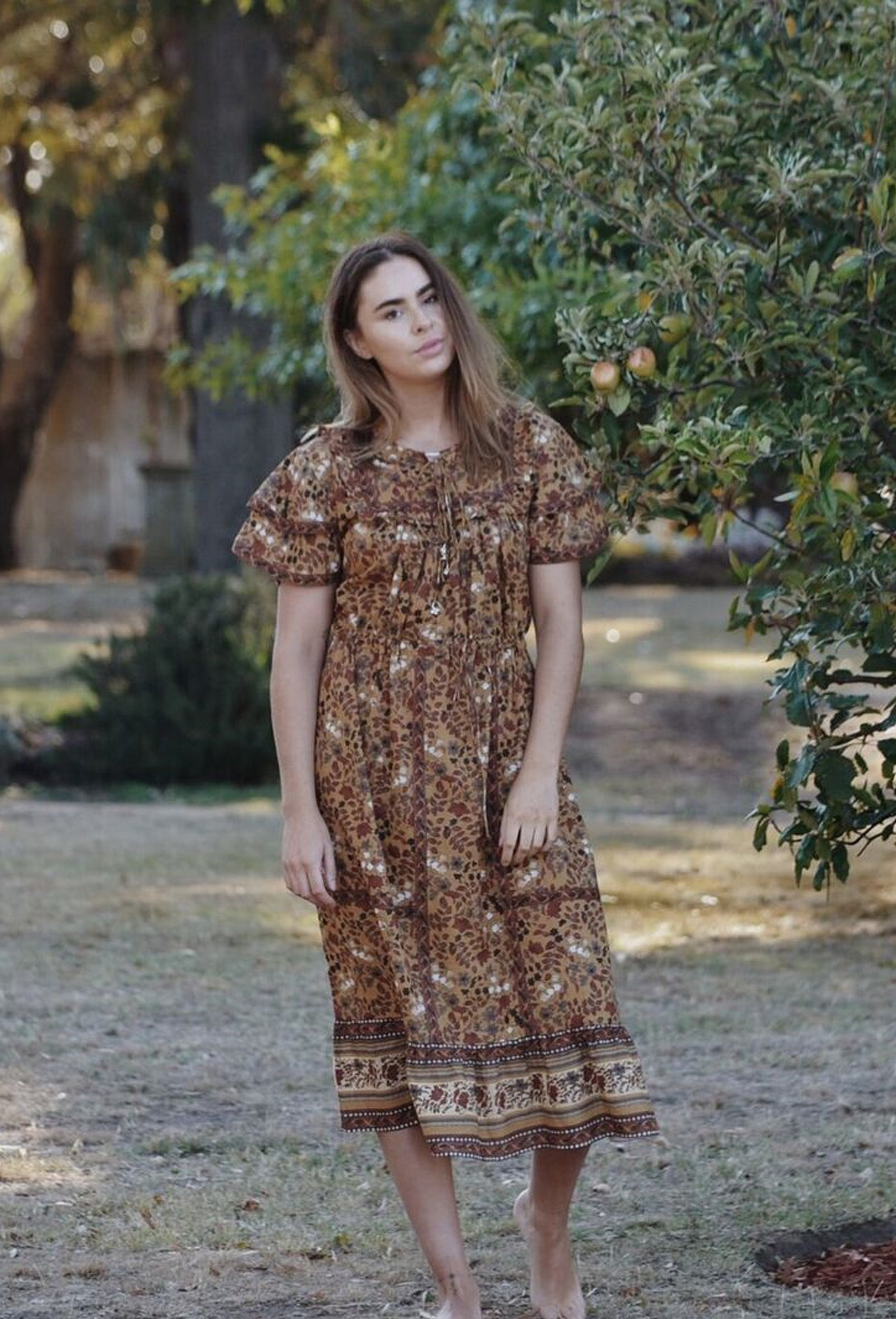 PRÈVOT OAK BROWN FLORAL DRESS