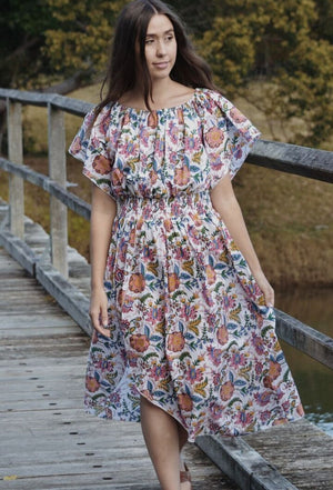 ANOUSHKA DRESS MULTI HAND BLOCK FLORAL