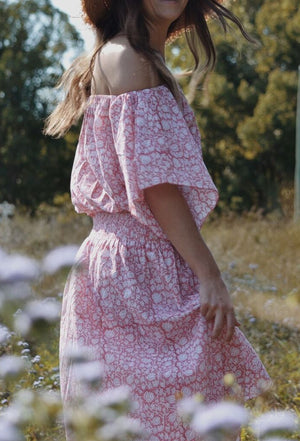 ANOUSHKA DRESS PINK HAND BLOCK FLORAL