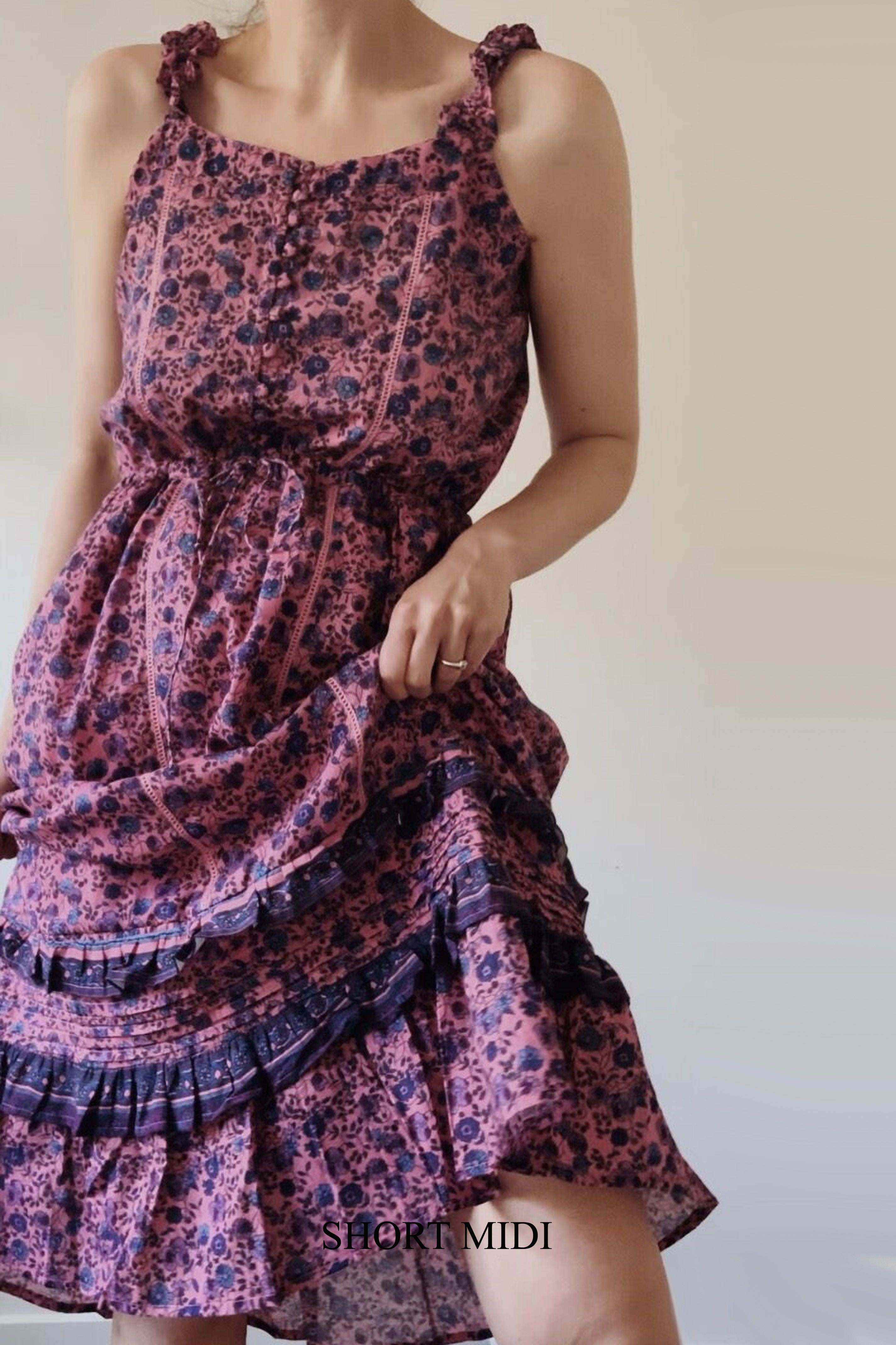 AVONLEA PINK FLORAL DRESS - 2 LENGTHS AVAILABLE