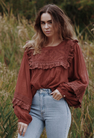 BEATRIX BLOUSE RUST CLAY COTTON GAUZE