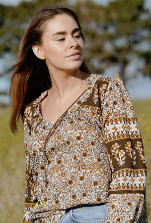 BOBBI BLOUSE BROWN FLORAL