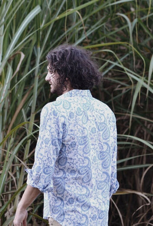 BOBBY MEN'S SHIRT BLUE HAND BLOCK PAISLEY