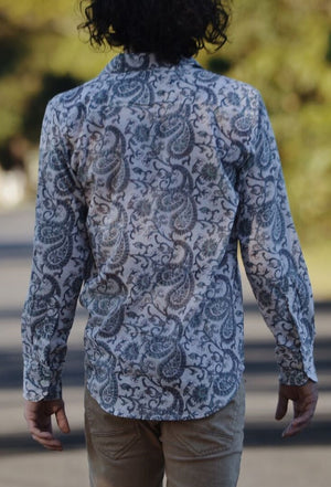 BOBBY MEN'S SHIRT GREY HAND BLOCK PAISLEY