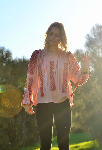 CLAUDE EMBROIDERED DUSTY PINK RED BLOUSE