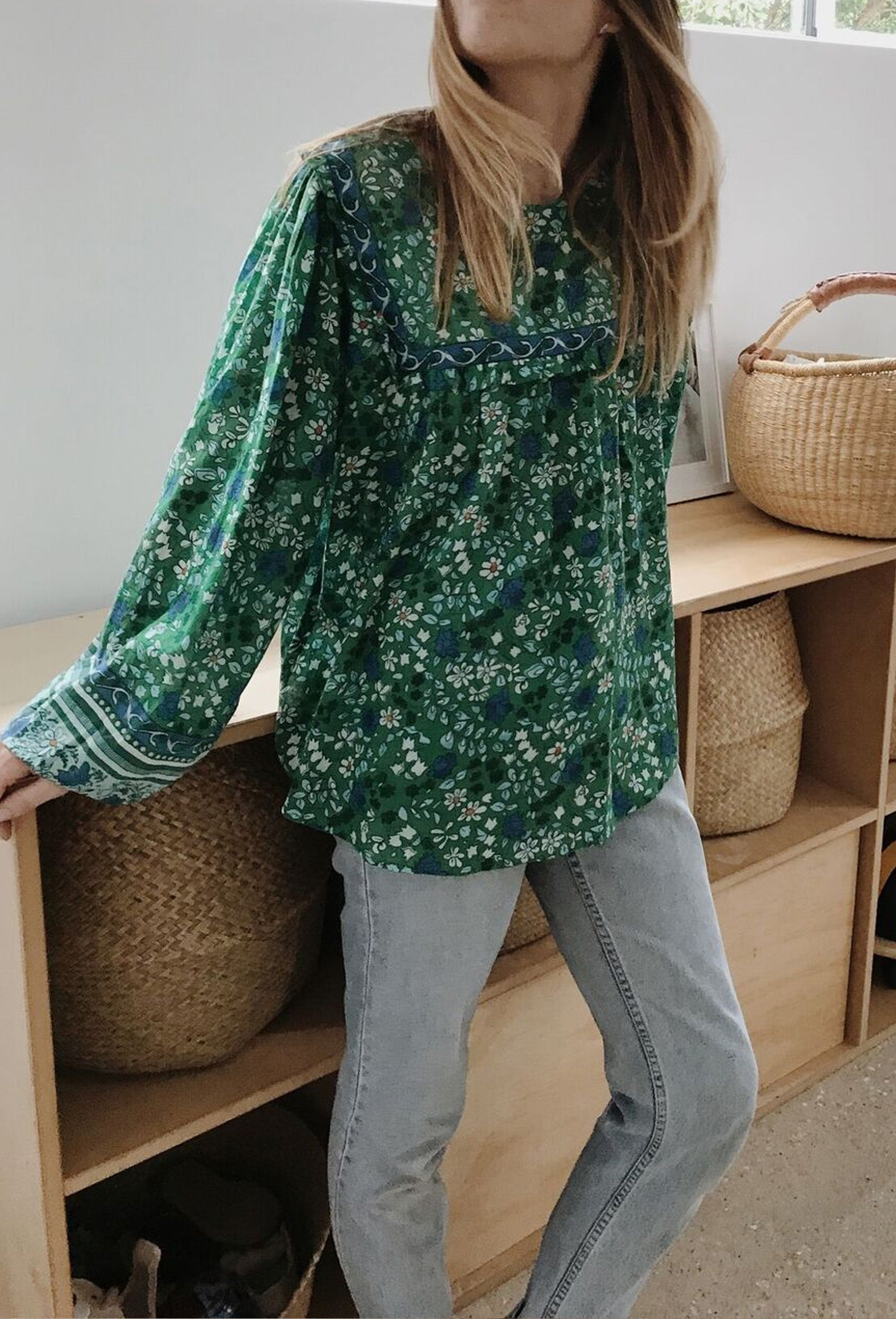DALI BLOUSE GREEN FLORAL