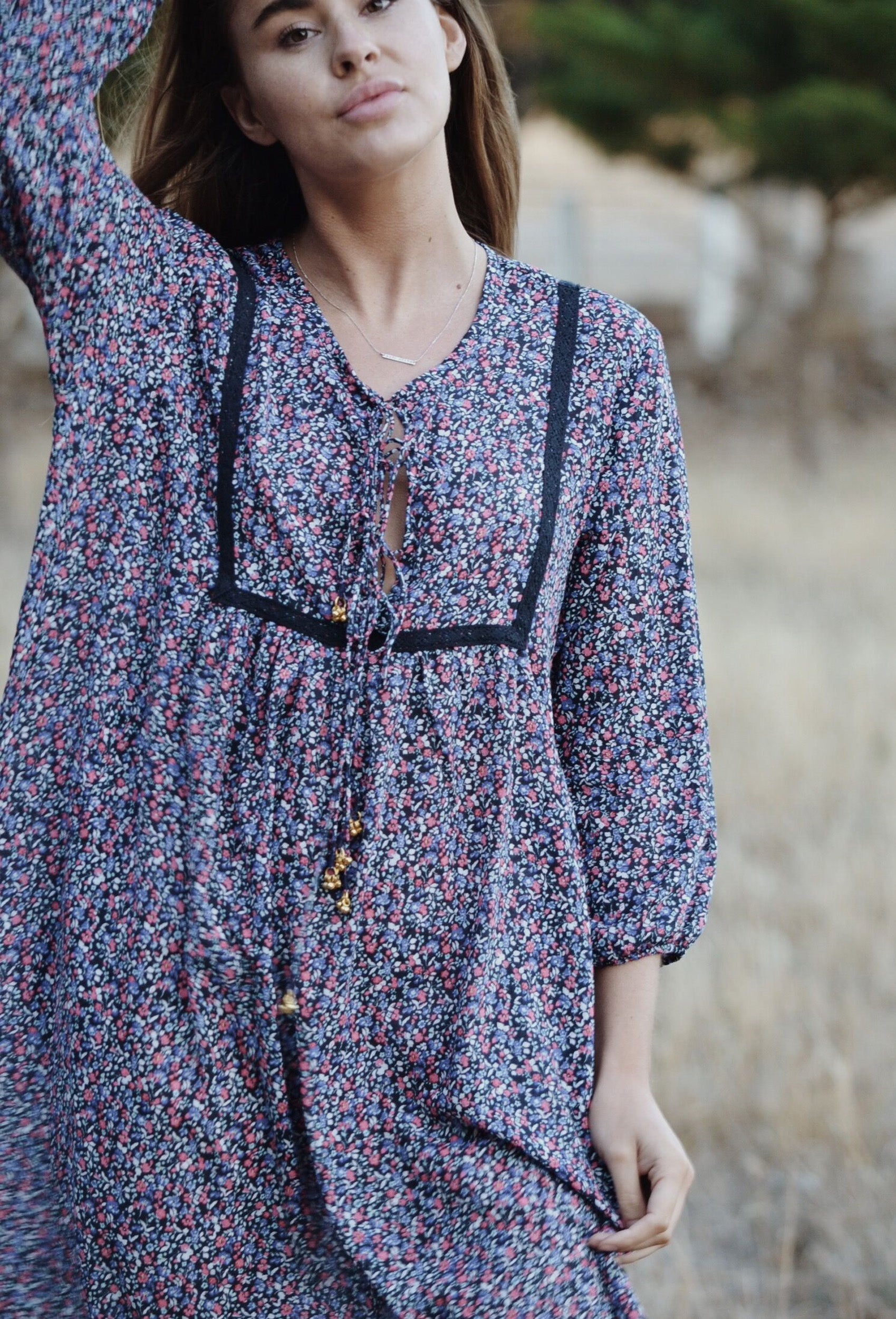 DENVUE NAVY DITSY FLORAL DRESS