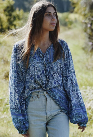 FABLE BLOUSE BLUE MULTI FLORAL