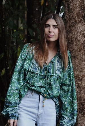 FABLE BLOUSE GREEN FLORAL
