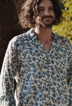 FELIX MEN'S SHIRT BLUE HAND BLOCK FLORAL