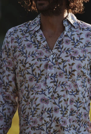 FELIX MEN'S SHIRT PINK HAND BLOCK FLORAL