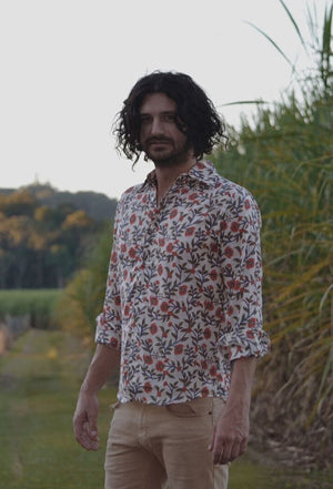 FELIX MEN'S SHIRT RED HAND BLOCK FLORAL