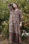HENRI MAXI DRESS AZAR EARTHY FLORAL PRINT