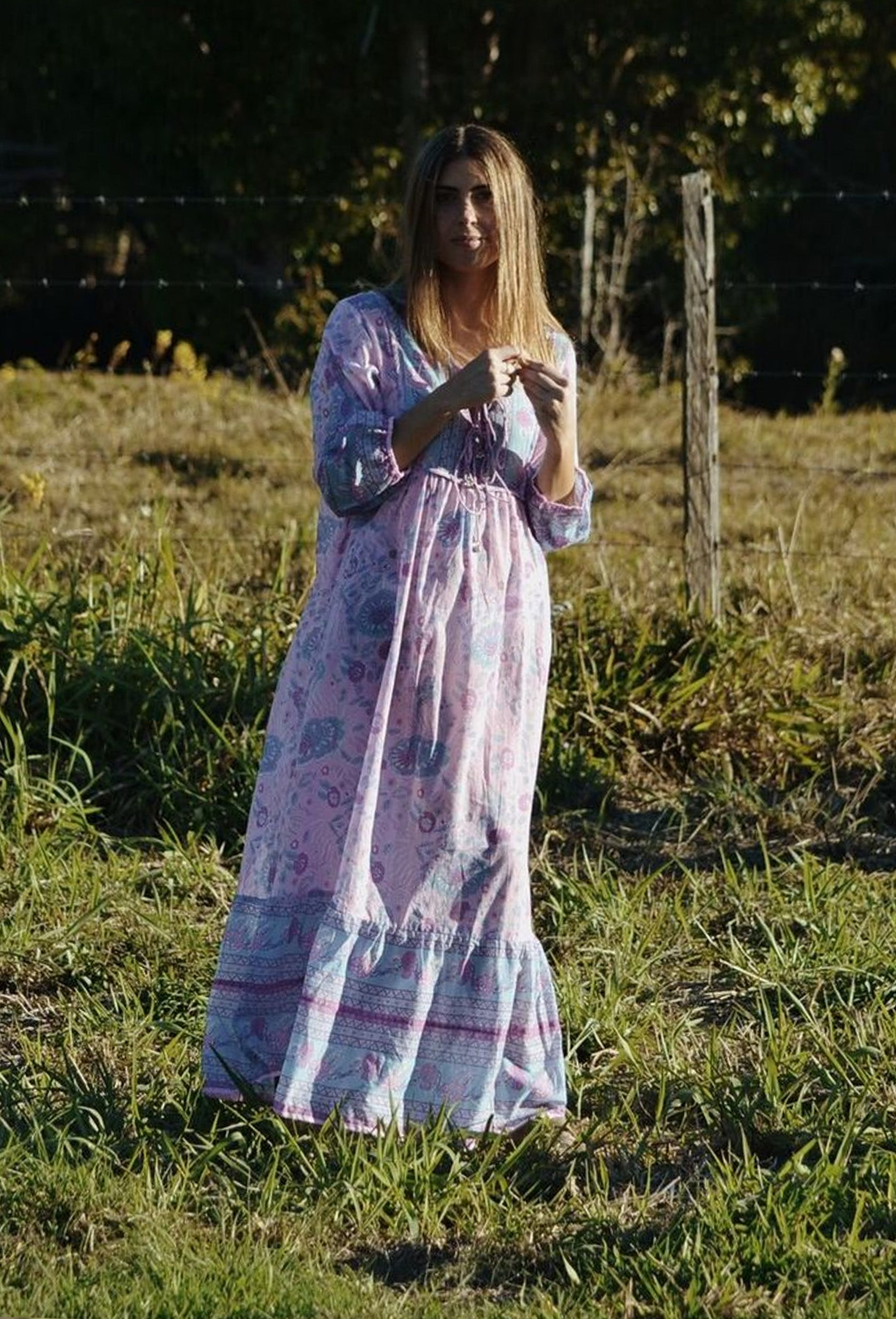 HENRI MAXI DRESS LIGHT PINK FLORAL