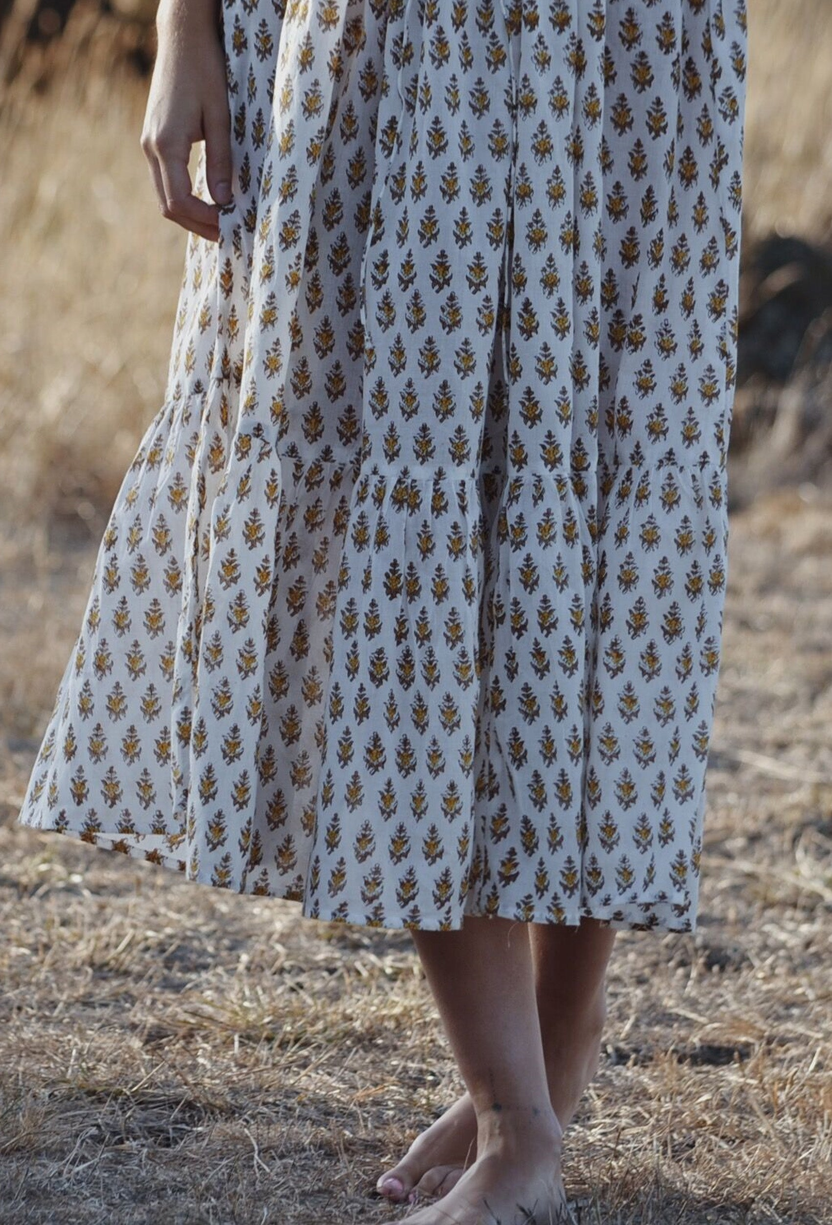 ISABEL SAND HAND BLOCK STAMP DRESS