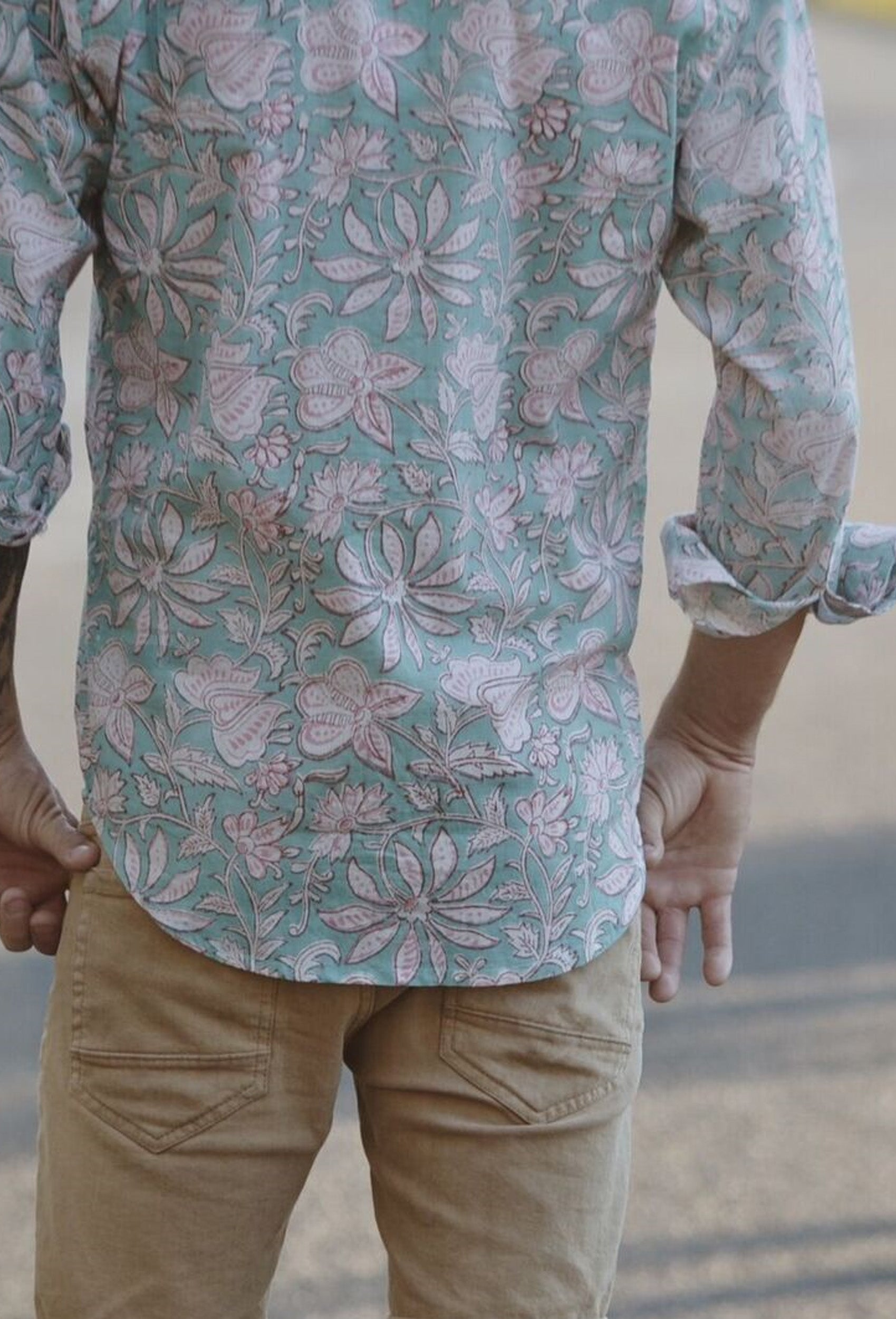 JONAH MEN'S SHIRT AQUA HAND BLOCK FLORAL