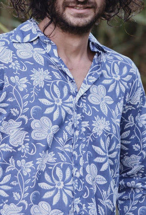 JONAH MEN'S SHIRT BLUE HAND BLOCK FLORAL