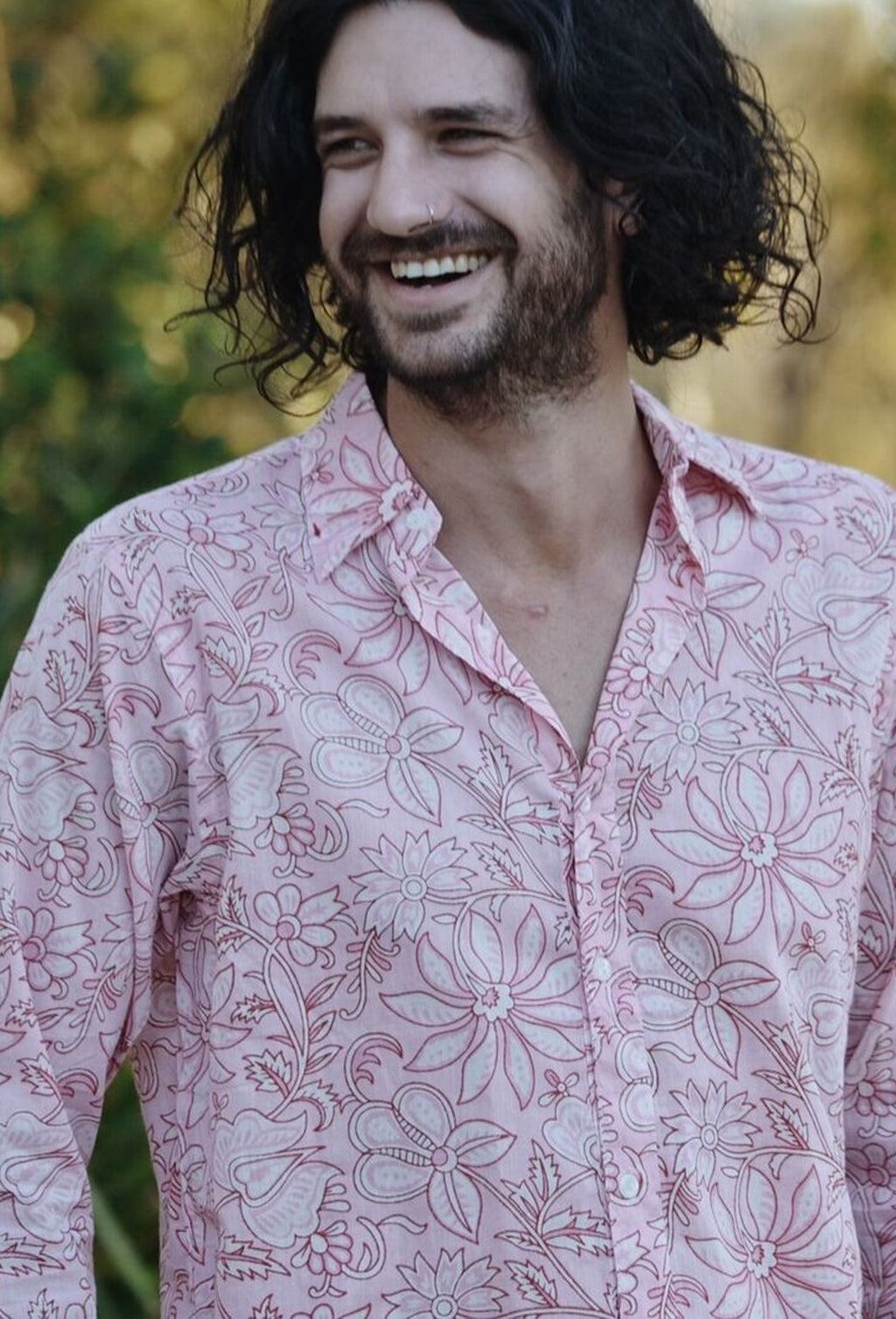 JONAH MEN'S SHIRT PINK HAND BLOCK FLORAL